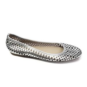 Kelsi Dagger Silver Leather Perforated Flats